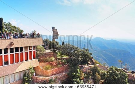 People On Observation Place Near Montserrat Monastery