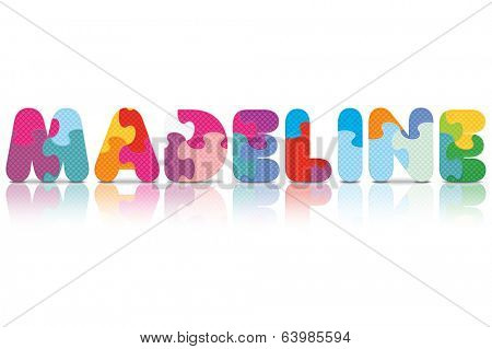 MADELINE written with alphabet puzzle - vector illustration