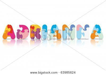 ADRIANNA written with alphabet puzzle - vector illustration