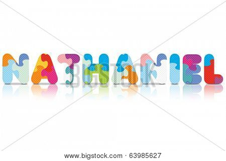 NATHANIEL written with alphabet puzzle - vector illustration