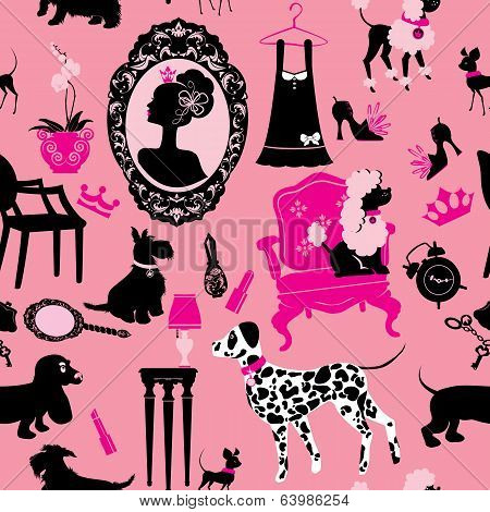 Seamless Pattern With Glamour Accessories, Furniture, Girl Portrait And Dogs (dalmatian, Dachshund,