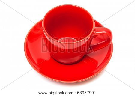 red coffee cup and saucer on a white background