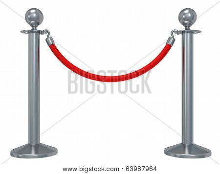 Silver rope barrier - 3d render