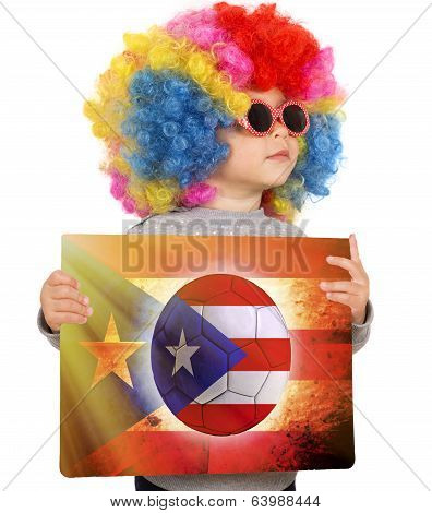 Child With Puerto Rican Soccer Background