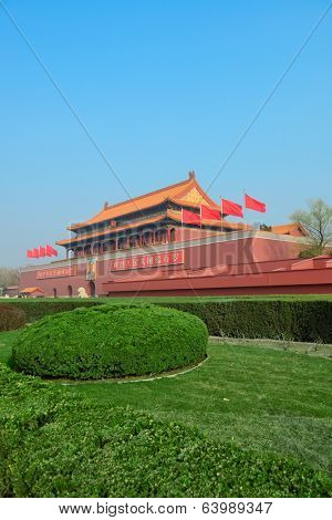 BEIJING, CHINA - APR 1: Tiananmen exterior with decorations on April 1, 2013 in Beijing, China. It is a famous monument in Beijing and serves as a national symbol.