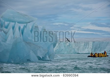 Svalbard, Norway - July 2013: Cruising along Giant Iceberg and Glacier in Nordaustlandet, Svalbard