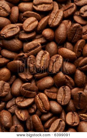 Coffe Beans Background, Macro Closeup