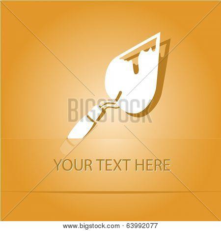 Trowel. Paper sticker as bookmark. Vector illustration. Eps10.
