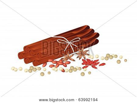 Dried Star Anise With Cinnamon Sticks And Peppercorns