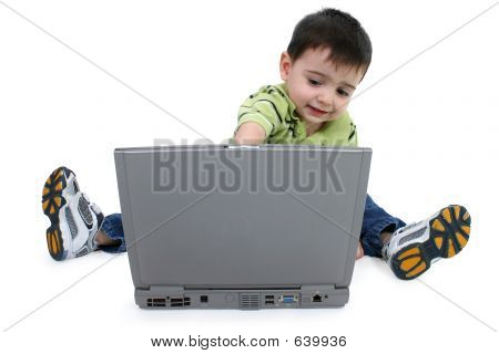 Boy Using Laptop With Clipping Path