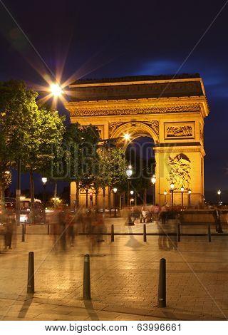 Arc De Triomphe And Ghost Of Pedestrians