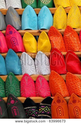 Typical colourful 'babuchas'. Marrakesh, Morocco..