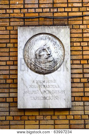 Memorial Plaque To Andrei Tarkovsky In Moscow