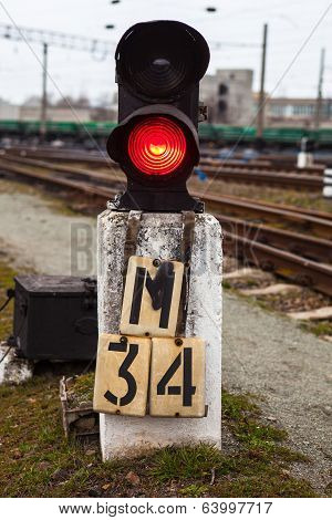 Railway Semaphore Shows Red Signal