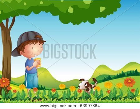 Illustration of a boy under tree with his pet