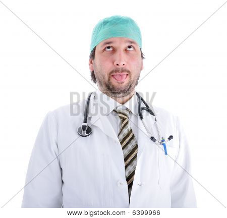 Silly Male Doctor In Characteristic Clothes