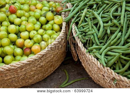 Fresh Green String Beans And Sour Drupe