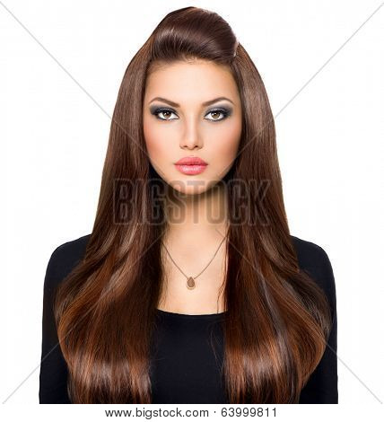 Beauty Woman Portrait. Beautiful Girl looking at camera. Long Healthy and Shiny Smooth Brown Hair. Front view Model Brunette Girl over white background. Beautiful make up. Hair Extensions