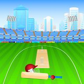 image of cricket  - vector illustration of cricket bat and ball in stadium - JPG