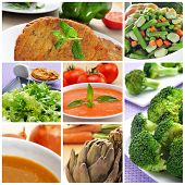 stock photo of escarole  - a collage of different vegan meals - JPG