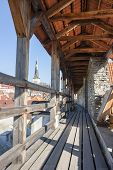 pic of olaf  - Old wood details of an ancient curtain wall in the old town of Tallinn Estonia - JPG