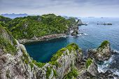 The Cove at Taiji, Wakayama, Japan. The site is known as the infamous location of the yearly dolphin poster