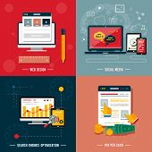 picture of  media  - Icons for web design seo social media and pay per click internet advertising in flat design - JPG