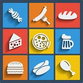stock photo of flat-bread  - Set of 9 food vector web and mobile icons in flat design - JPG