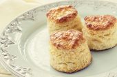 picture of buttermilk  - Homemade buttermilk tea biscuits on a pretty antique plate - JPG