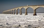 stock photo of confederation  - A winter view of the Confederation Bridge that links Prince Edward Island - JPG