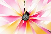 stock photo of veer  - Shiny spinning colorful pinwheel on the wind - JPG