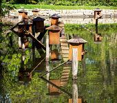 foto of nesting box  - Boxes for waterfowl nesting on the water - JPG