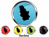 Glossy vector map button of Serbia poster