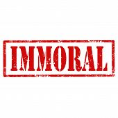 stock photo of immoral  - Grunge rubber stamp with text Immoral - JPG