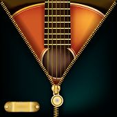 picture of zipper  - abstract music green background with guitar and open zipper - JPG