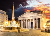picture of fountains  - Pantheon and fountain  - JPG