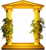 stock photo of ionic  - Ionic columns gold frame with vine leaves on white background - JPG