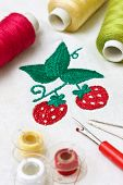foto of thread-making  - machine embroidery image strawberry tools for embroidery - JPG
