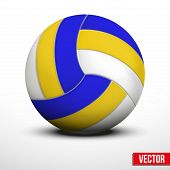 picture of volleyball  - Volleyball ball in traditional tricolor colors on white background - JPG