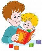 picture of kiddie  - Dad reading a book to his infant son - JPG