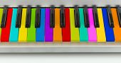 stock photo of rainbow piano  - Background of colorful piano keyboard - JPG