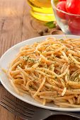 stock photo of pesto sauce  - pasta spaghetti macaroni in plate - JPG