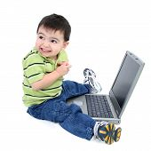 Happy Boy And His Computer With Clipping Path poster