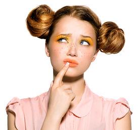 image of freckle face  - Beauty teenage Model Girl thinking or choosing - JPG
