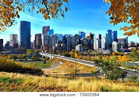 Calgary skyline during autumn