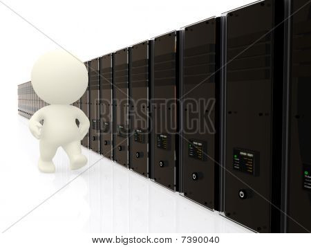 3D Person Walking Along Servers