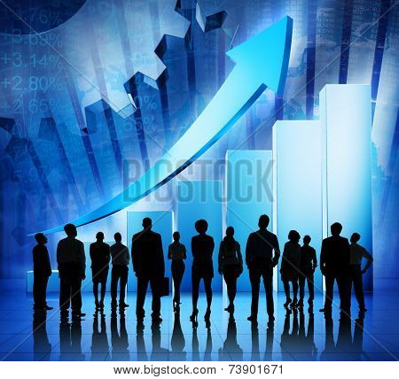Group of Business People on Booming World Economic