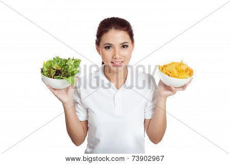 Asian Girl With Crisps And Salad