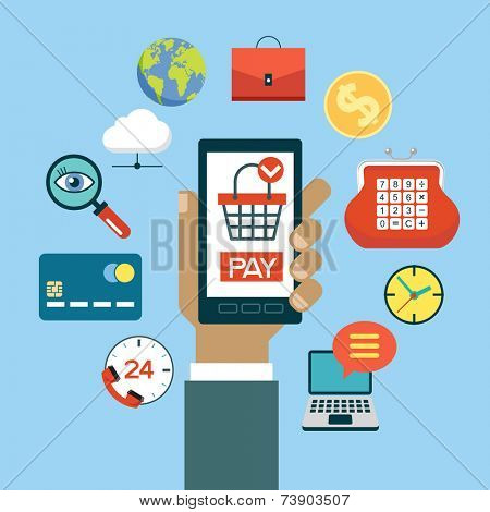 Hand holding a mobile phone surrounded by e-commerce icons. Set of modern design icons in flat design with trendy colors for web and apps. Vector e-shopping concept - start up infographic design