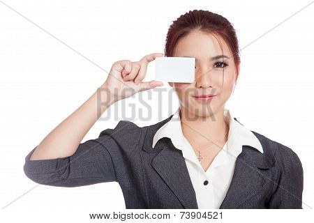 Asian Businesswoman Close Her Eye With A Blank Card
